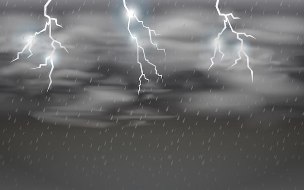 Dark stomy night sky Premium Vector
