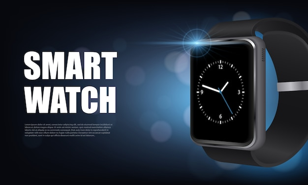 Dark style realistic smart watch horizontal banner with for advertising on site vector illustration Free Vector