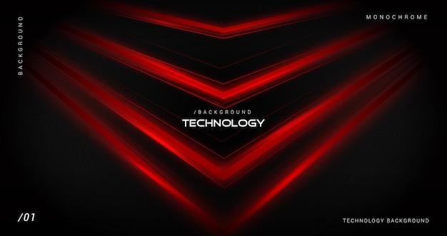 Dark technology background with shiny red lines Premium Vector