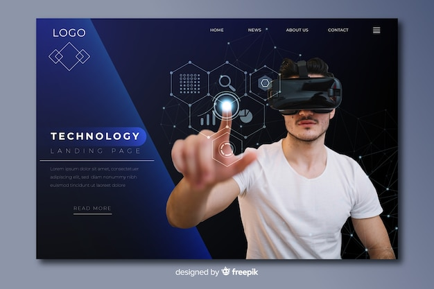 Dark technology landing page with vr glasses photo Free Vector
