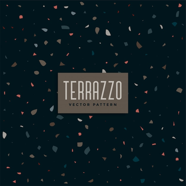 Dark terrazzo pattern background design Free Vector