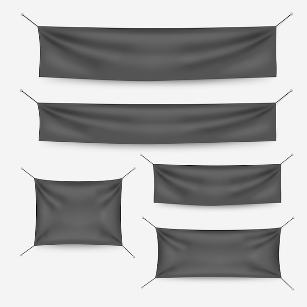 Dark textile banners with folds template set Premium Vector