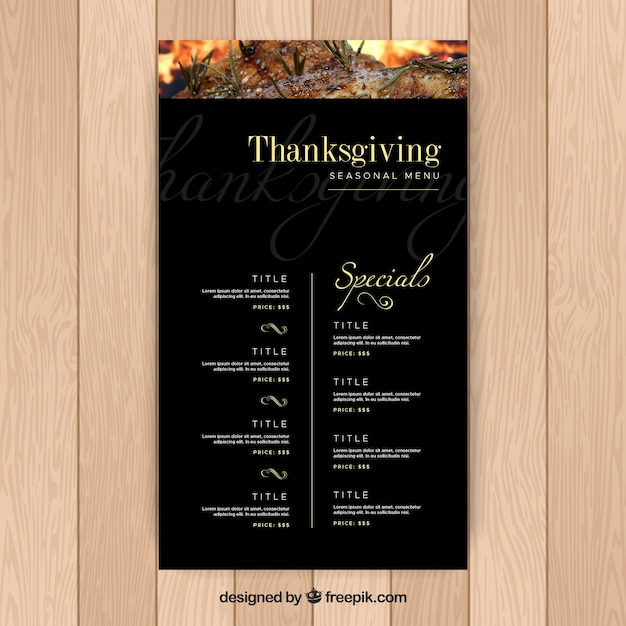Dark thanksgiving menu template Free Vector