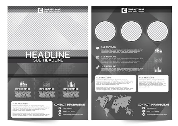 Dark theme business flyer template Premium Vector