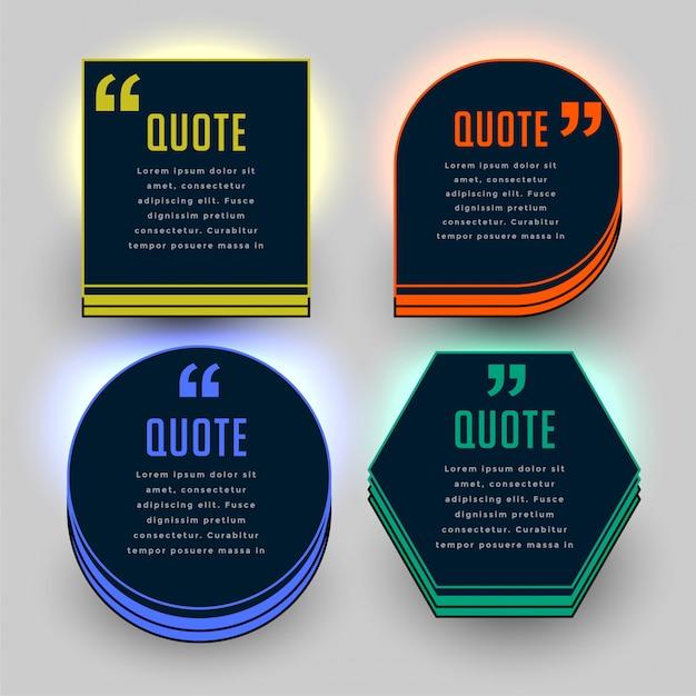 Set di quattro modelli di virgolette a tema scuro Vettore gratuito
