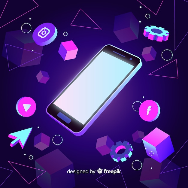 Dark themed isometric mobile phone Vector | Free Download