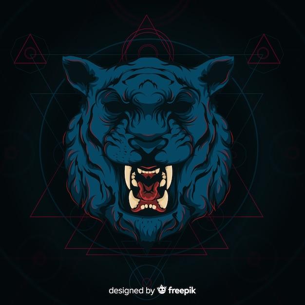 Dark tiger background Free Vector