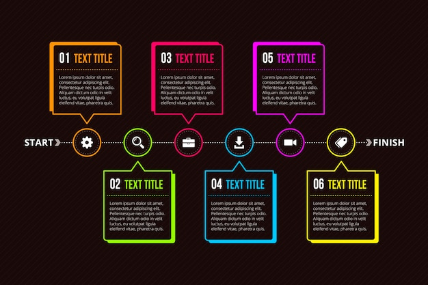 Dark timeline infographic Free Vector