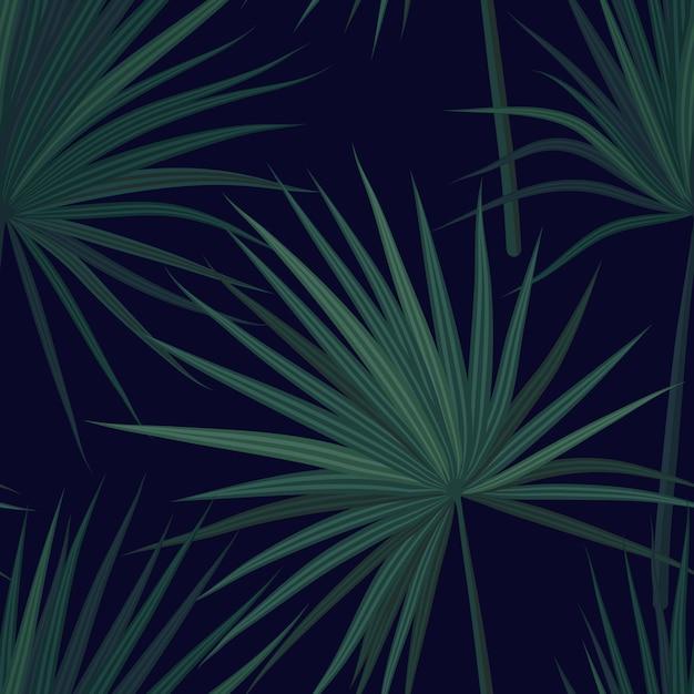ジャングルの植物と暗い熱帯背景。緑のフェニックスのヤシと熱帯のシームレスなパターンを残します。図。 Premiumベクター