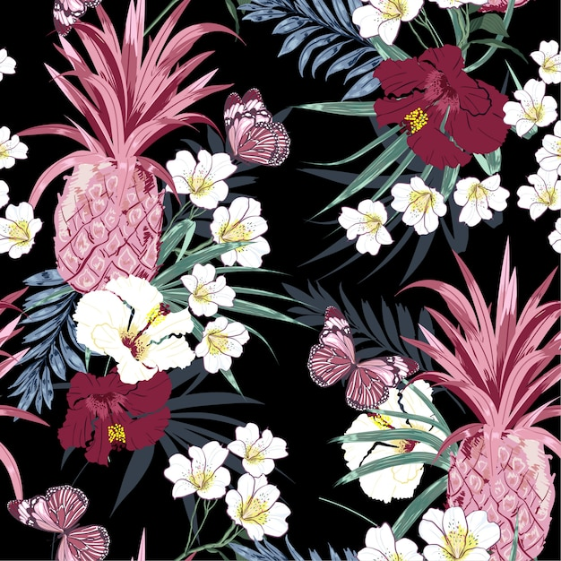 Dark tropical forest exotic colorful flowers Premium Vector