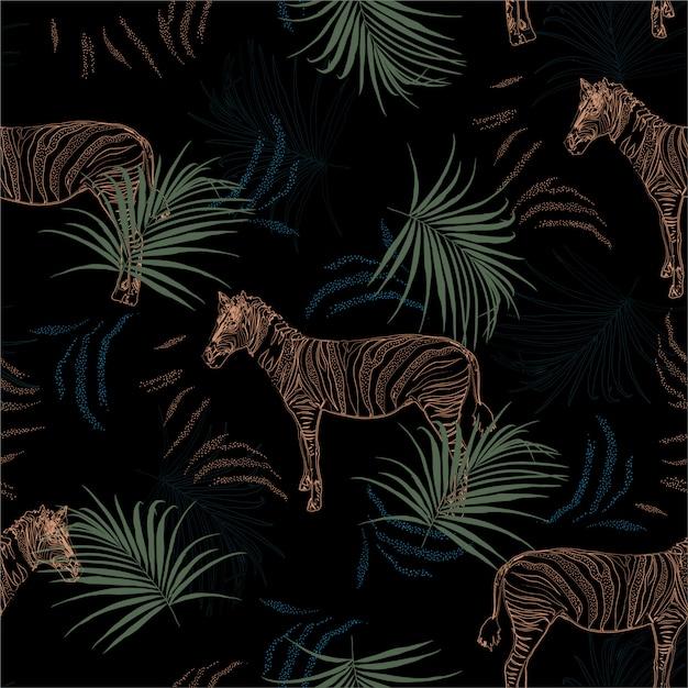 Темное тропическое сафари с зеброй в джунглях бесшовные модели Premium векторы