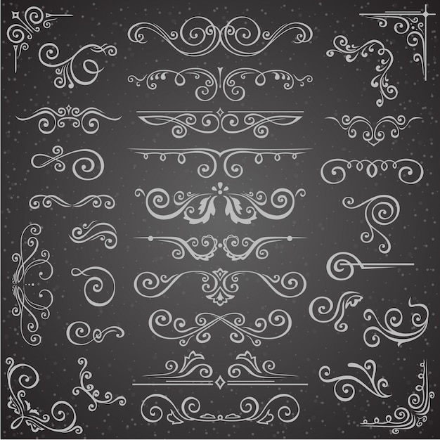 Dark vector set of swirl elements Premium Vector