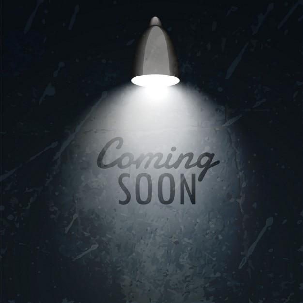 Темная стена с светящиеся лампы и в ближайшее время текст Бесплатные векторы