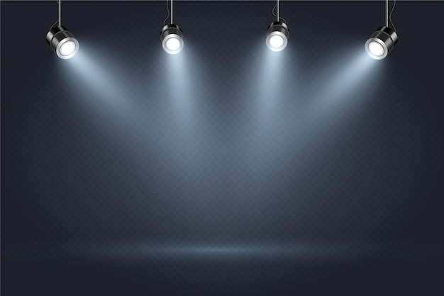 Dark wall with spot lights background Free Vector