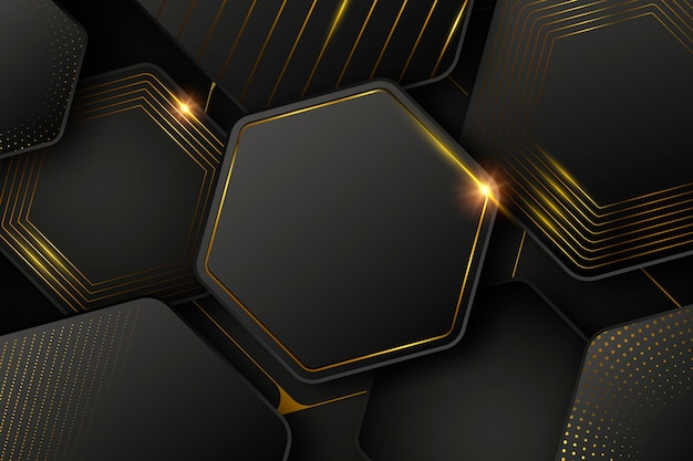 Dark wallpaper with shapes and golden lines Free Vector