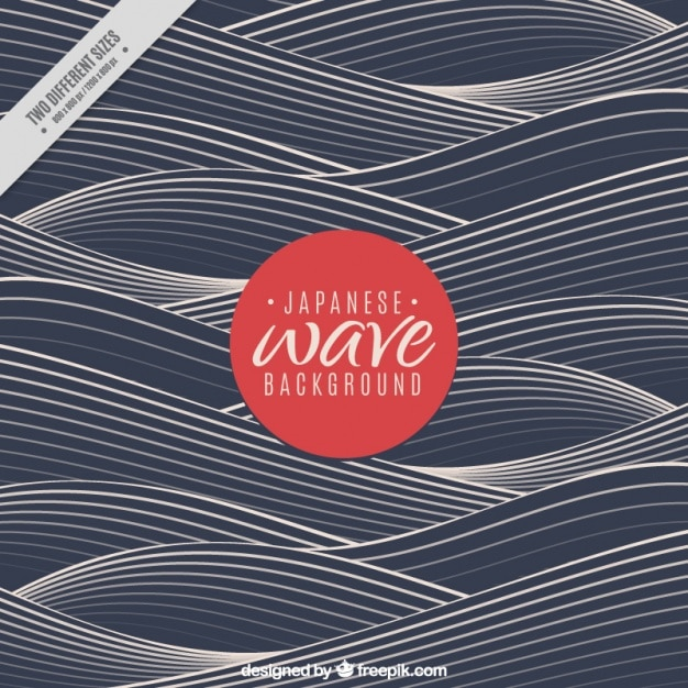 Dark wave background in japanese style Free Vector