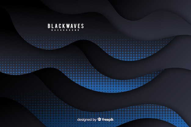 Dark waves background with halftone effect Free Vector
