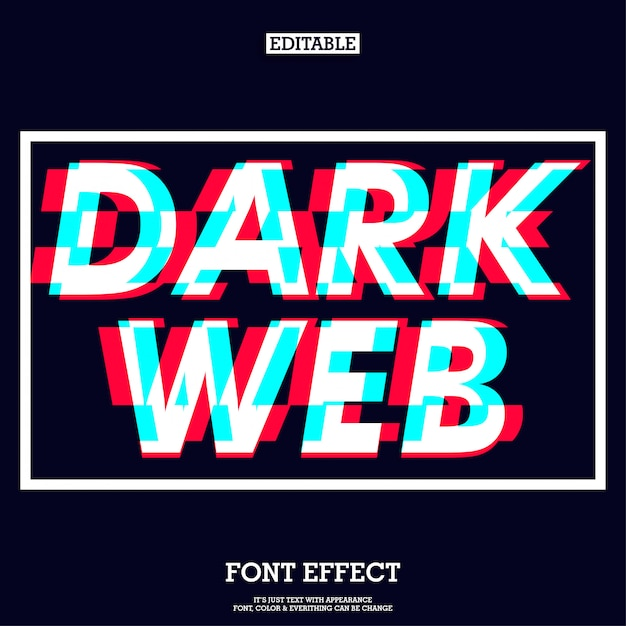 Dark web font effect with futuristic glitch sign Premium Vector