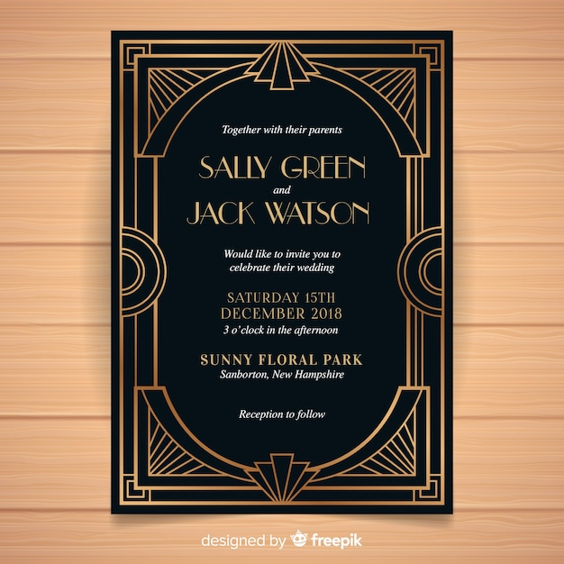 Dark Wedding Invitation Template In Art Deco Style Vector Free