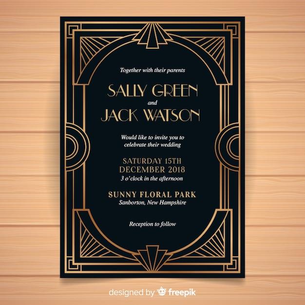 Темный шаблон приглашения на свадьбу в стиле арт-деко Premium векторы