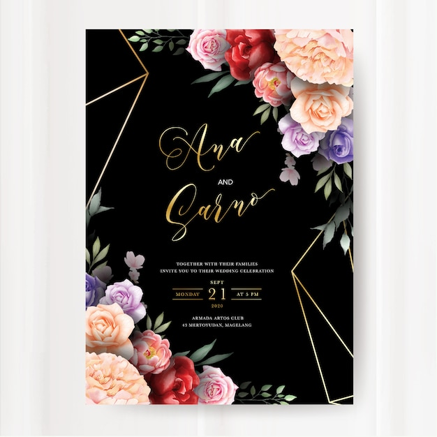 Dark wedding invitation template with watercolor floral leaves Premium Vector