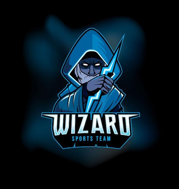 Dark wizard holding thunderbolt спортивный игровой логотип талисман Premium векторы
