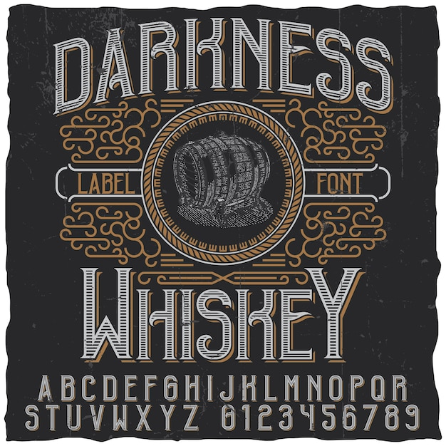 Darkness whiskey label Free Vector