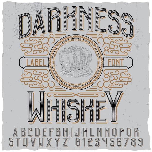 Плакат темноты виски с изображением деревянной бочки Premium векторы