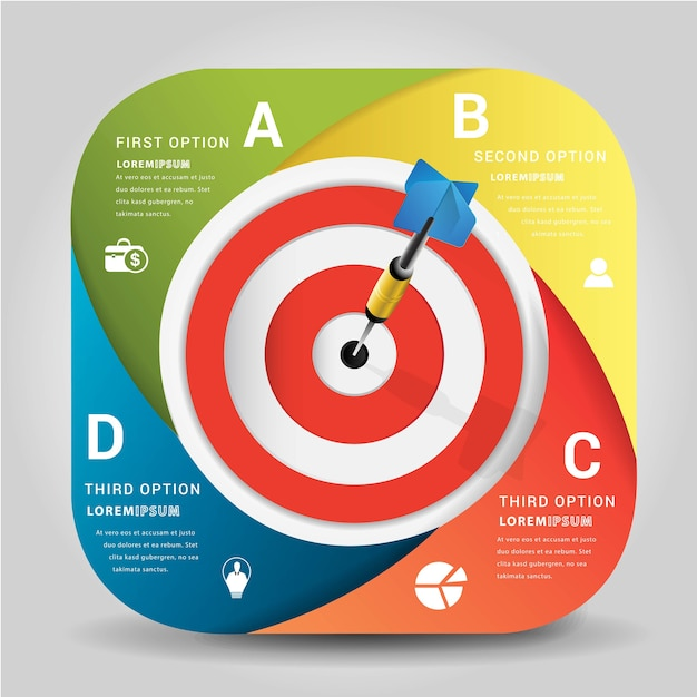 Dart is a competition and opportunity.bulls eyes of dart board is both challenge Premium Vector