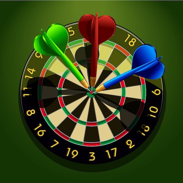 Dartboard with darts in the center | Premium Vector