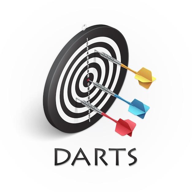 Darts game realistic illustration Premium Vector