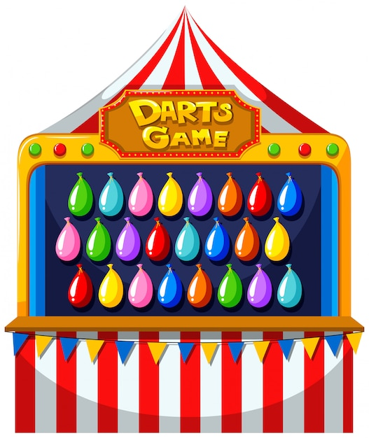 Darts game with balloons on the wall Free Vector