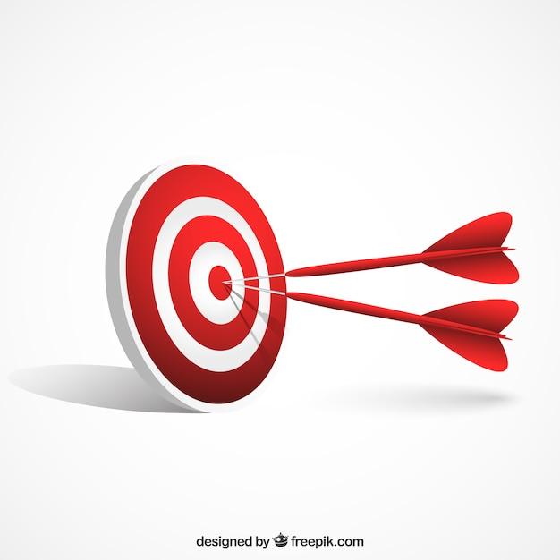 Darts hitting the target Free Vector