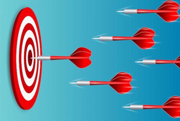 Darts throwning to the dartboard Premium Vector