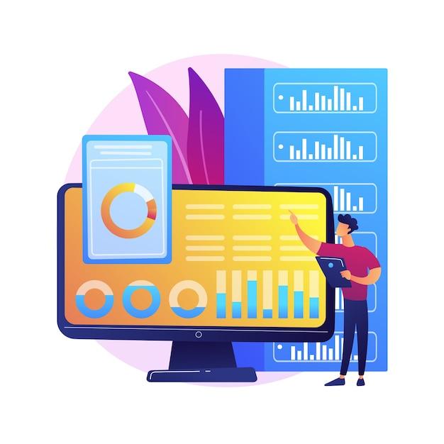 Analisi del dashboard. valutazione delle prestazioni del computer. grafico sullo schermo, analisi statistica, valutazione infografica. rapporto aziendale in mostra. illustrazione della metafora del concetto isolato. Vettore gratuito