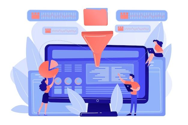 コンピューター画面上のメトリックを統合するダッシュボード。ビジネスインテリジェンスダッシュボード、ビジネス分析ツール、ビジネスインテリジェンスメトリックの概念 無料ベクター