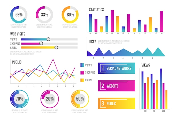 Dashboard element collection infographic Premium Vector