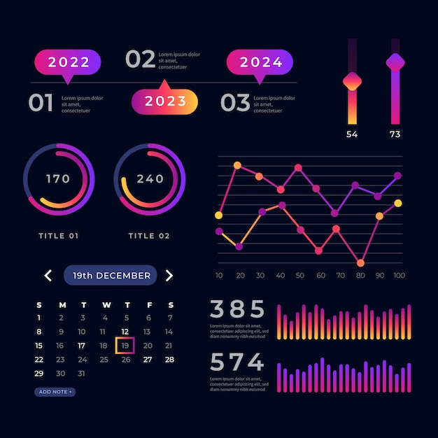 Dashboard element collection of statistical charts Free Vector