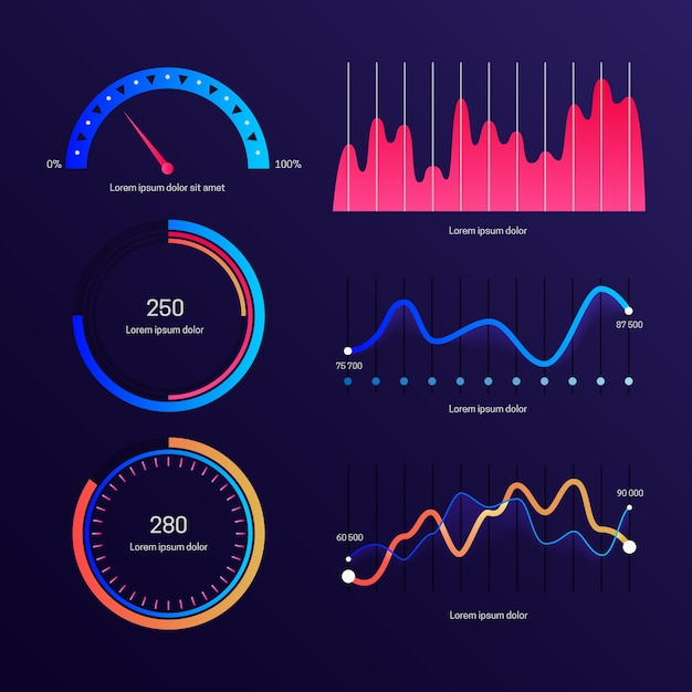 Dashboard element collection template Free Vector