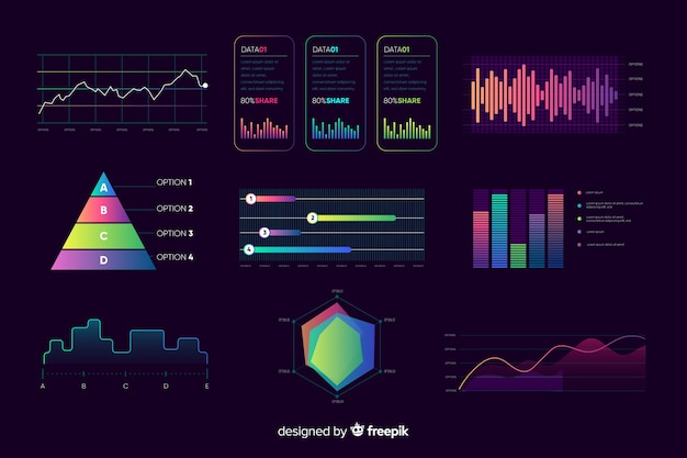 Dashboard element collection Free Vector