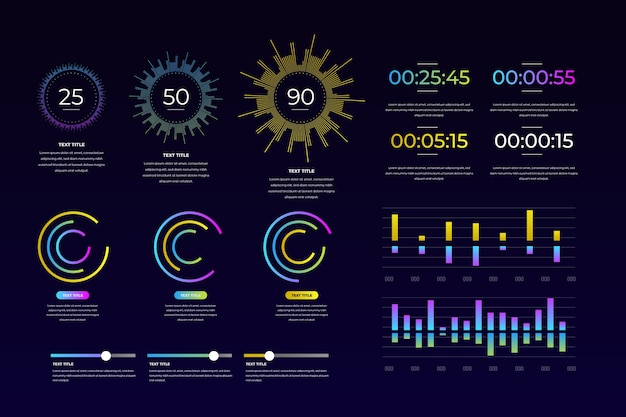 Dashboard element in colorful design Free Vector
