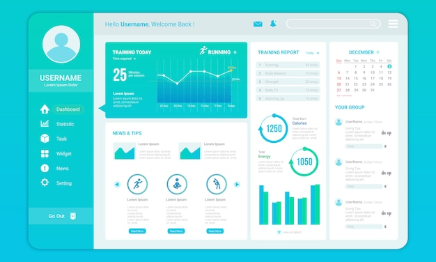 Dashboard for fitness progress template Premium Vector
