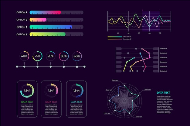 Dashboard infographic element collection Free Vector