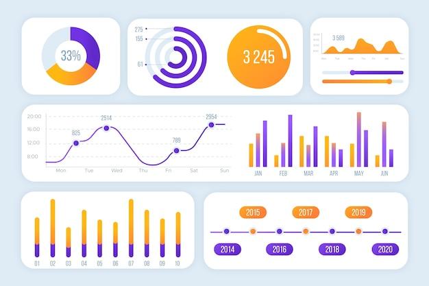 Набор элементов инфографики на приборной панели Бесплатные векторы