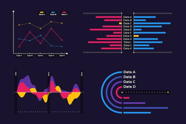 Dashboard infographic element set Free Vector