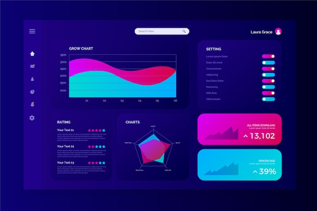 Dashboard panel template Free Vector