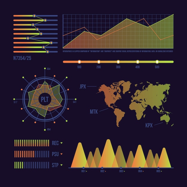 Dashboard of statistical data about world Free Vector