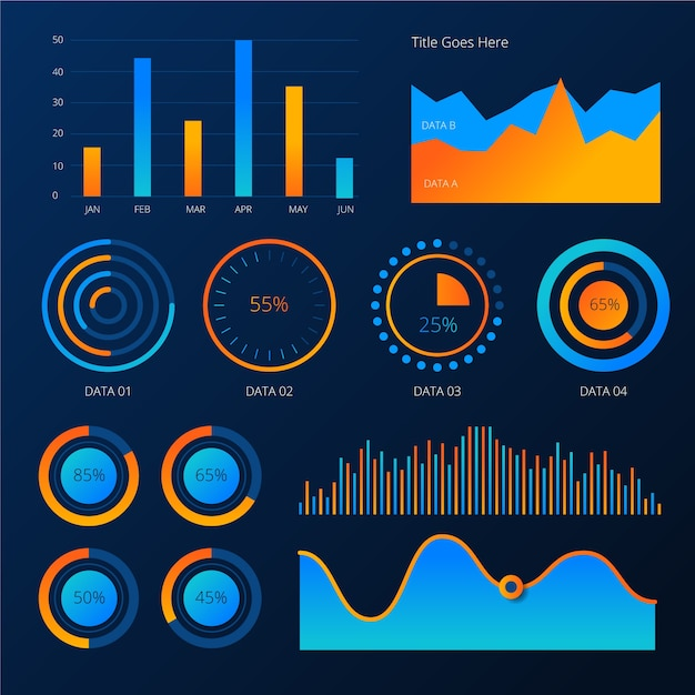 Dashboard template element set Free Vector