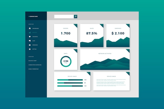 Dashboard template user panel infographic Free Vector