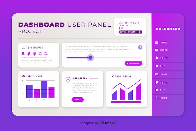 Dashboard template with charts Free Vector